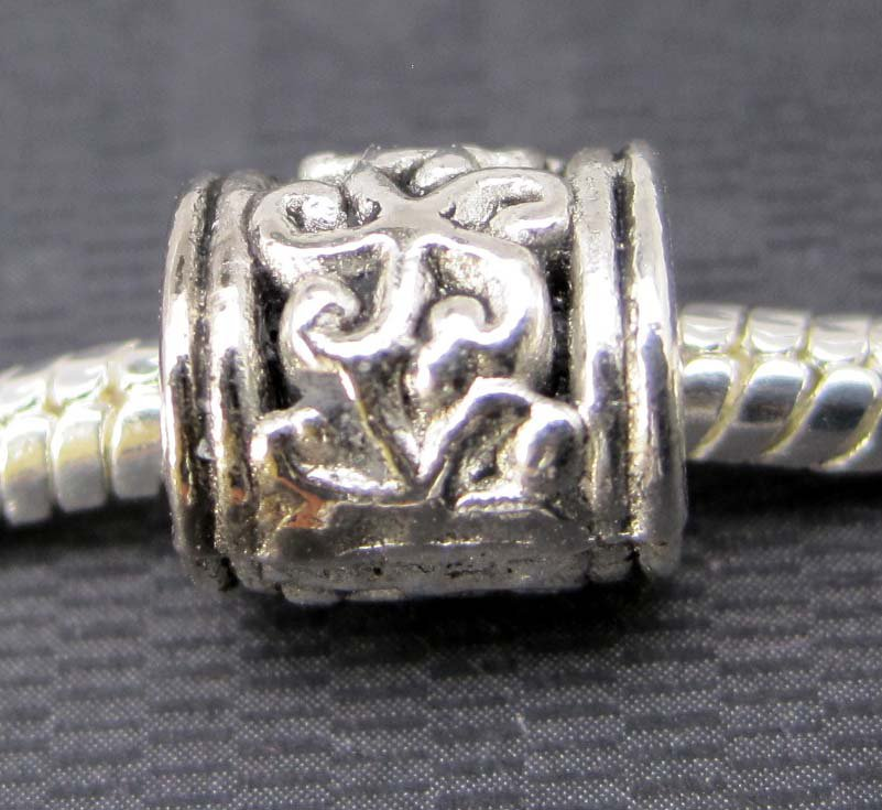 20Pieces Alloy Metal Column Cylinder Big Hole Loose Beads Finding 9mm*5mm  ja0066