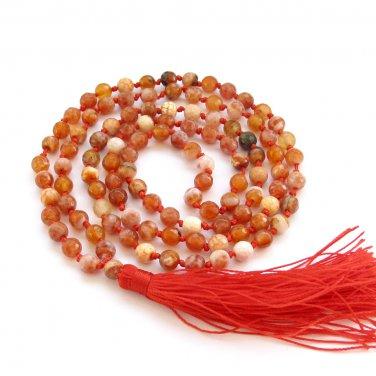 6mm Faceted Red Flower Agate Gemstone 108 Prayer Beads Tibet Buddhist Japa Mala Knotted  ZZ280