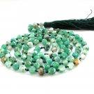 6mm Faceted Green Flower Agate Gemstone 108 Prayer Beads Tibet Buddhist Japa Mala Knotted  ZZ281
