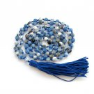 6mm Blue Flower Agate Faceted Prayer Beads Tibet Buddhist 108 Japa Mala Knotted  ZZ282