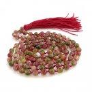 6mm Faceted Flower Stone Knotted Prayer Beads Tibet Buddhist 108 Japa Mala  ZZ284
