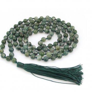 6mm Moss Agate Gemstone Round Knotted 108 Rosary Beaded Prayer Beads Mala  ZZ293