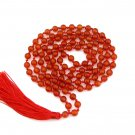 6mm Round Red Agate Gemstone Meditation Yoga Prayer Beads Charm 108 Mala Knotted  ZZ296