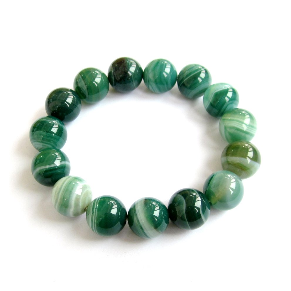 12mm Round Green Agate Striped Charm Rosary Beads Bracelet Good Luck  T3053