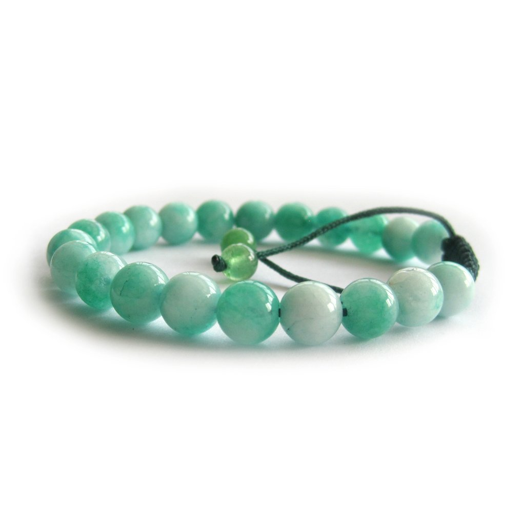 8mm Adjustable Hand Crafted Mint Green Gemstone Beads Bracelet--21Pieces  T3059