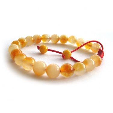 8mm Light Yellow Gemstone Round Beads Adjustable Bracelet  T3060