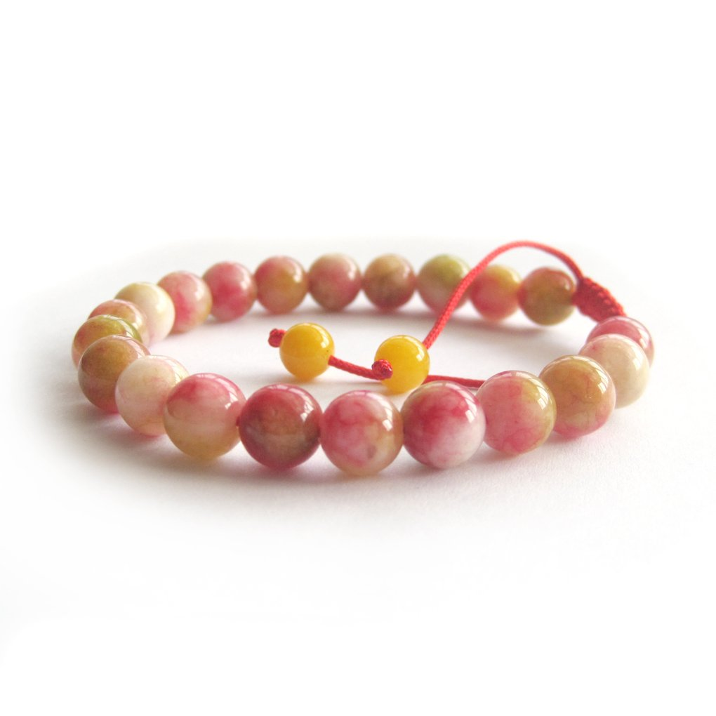8mm Peach Red Gemstone Round Prayer Beads Wrist Mala Bracelet  T3061