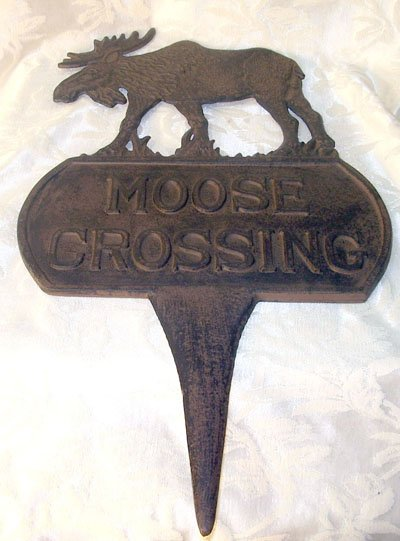 Cast Iron Moose Crossing Large Sign