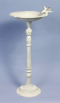 Tall White Cast Iron Bird Bath