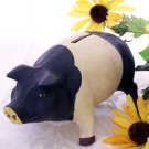 Cast Iron Black & White Pig Bank