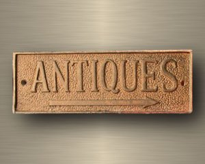 Cast Iron Antiques Sign