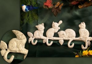 Cast Iron White 4 Cat Hook