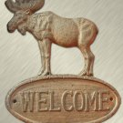 Cast Iron Moose Welcome Sign