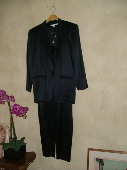 Vintage 80's Vogue Alley black silk charmeuse suit xs