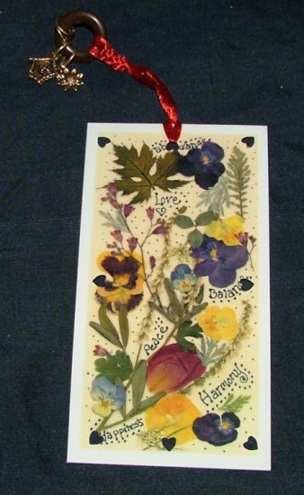Peace, Happiness, and Harmony Pansy Bookmark with Charms Vintage 1990