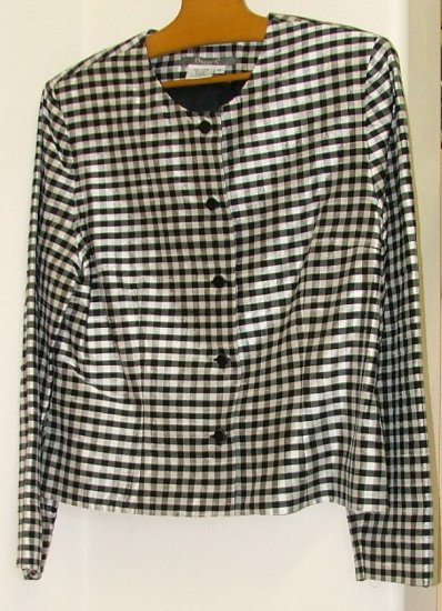 Maggy L Black and White Checked Silk Jacket size 12