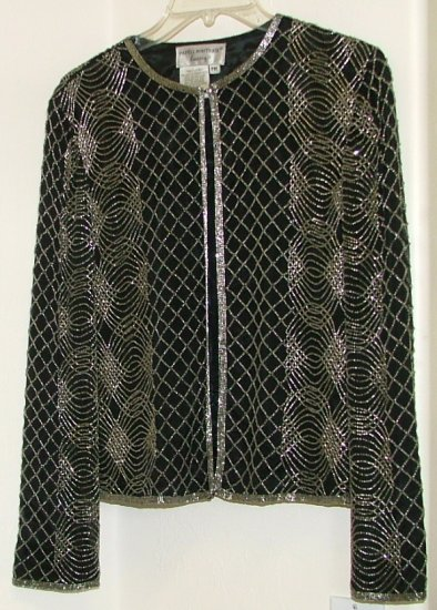 Papell Boutique Beaded Silk Evening Jacket