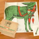 The Muslin Donkey Party, Pin the Tail on the Donkey, collectible Antique