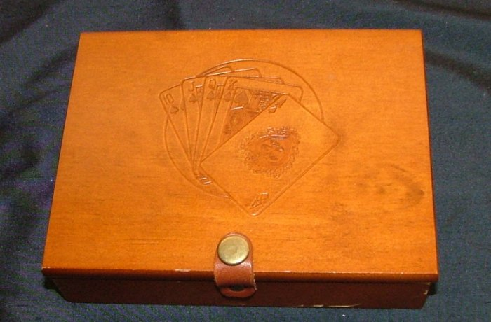 Wood Box Holder for 2 Decks of Cards POKER BRIDGE HOLDEM