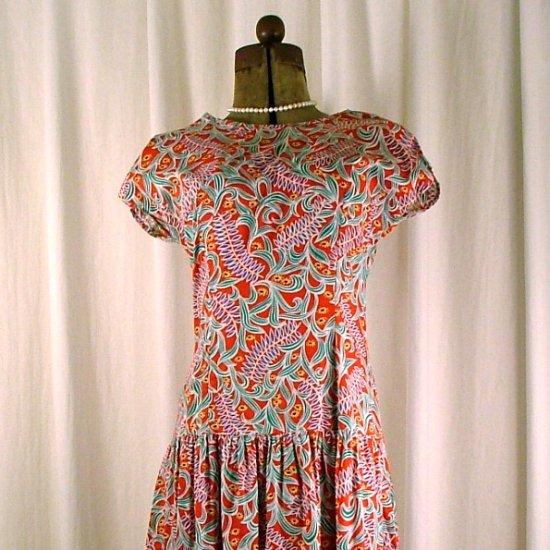 Vintage SKYR Red Print Cotton Drop-Waist Dress 6-8