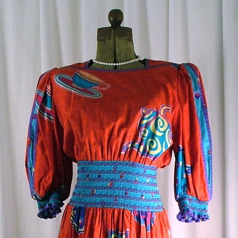 Vintage 80's Jeanne Marc Red Tea Cup Dress Small 8/10
