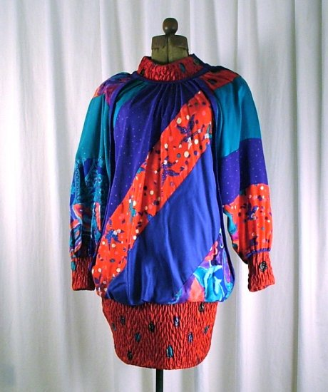 Vintage 80's Jeanne Marc Circles and Clowns Small 8/10