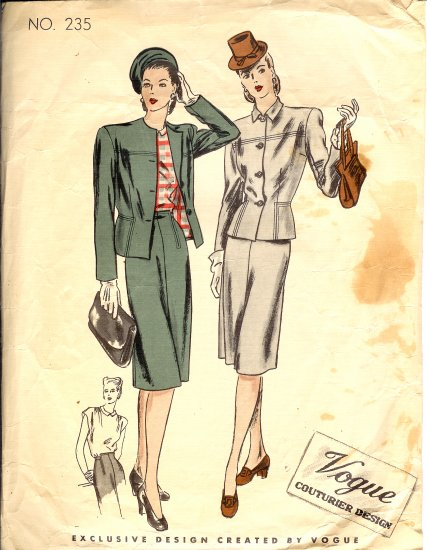 Vogue Couturier Sewing Pattern 235 Women's Suit Vintage Circa 1939 Size 12, Bust 30, Hip 33