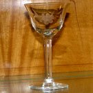 Etched cut Floral and leaf Crystal cordial glass