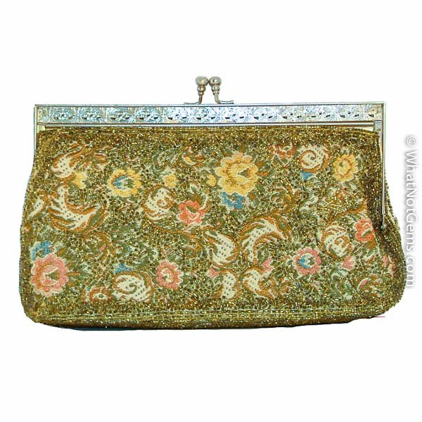 Gold Beaded Tapestry Clutch Handbag, Purse Vintage 1950