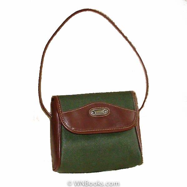 Esprit Green and Brown Satchel Handbag, Purse Vintage 1980