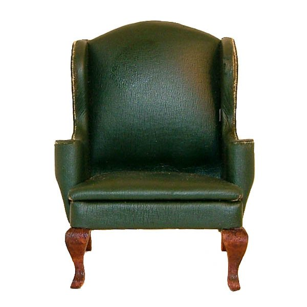 Vintage Green Dollhouse Miniature Wing Chair with Queen Anne Legs