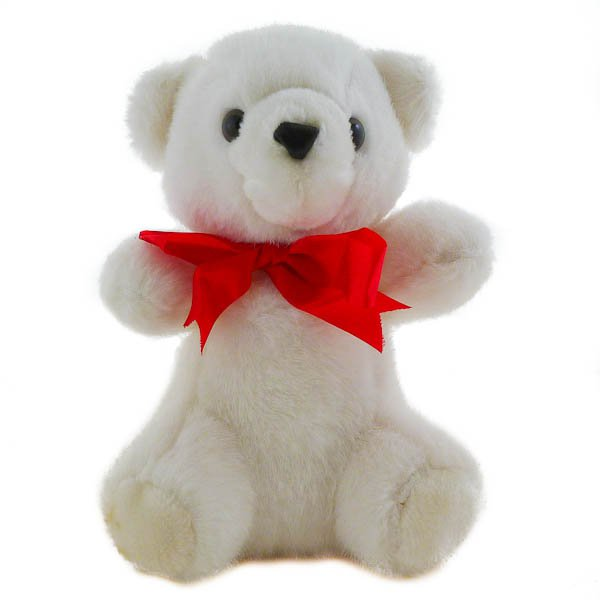 "10"" White Teddy Bear with Red Ribbon by Sasco, Stuffed Animal"