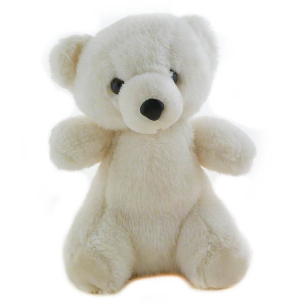 "Sasco 10"" White Teddy Bear, Stuffed Animal"