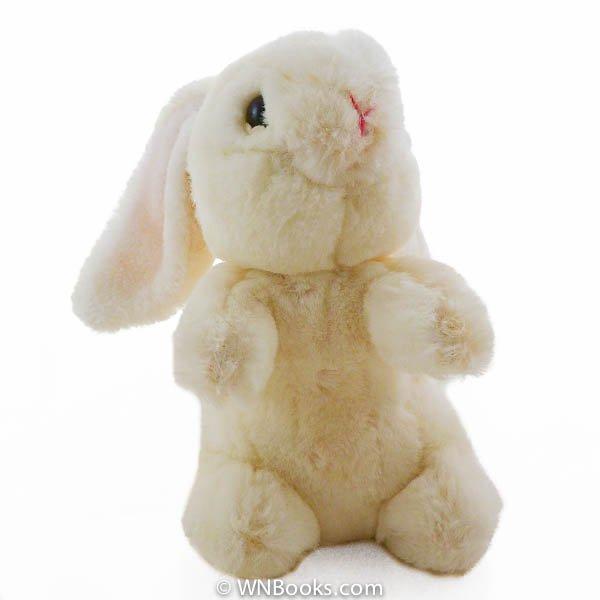 Russ Bunkles Cream Bunny Rabbit Rattle, Stuffed Animal - 1980