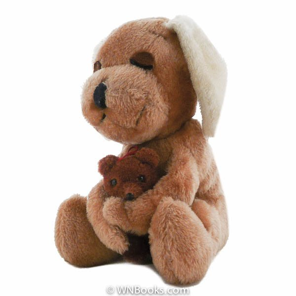 R. Dakin 1977 Plush Puppy Dog holding Teddy Bear