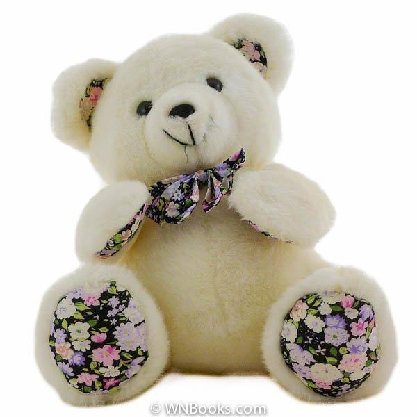 White Teddy Bear with Calico Paws, Stuffed Animal