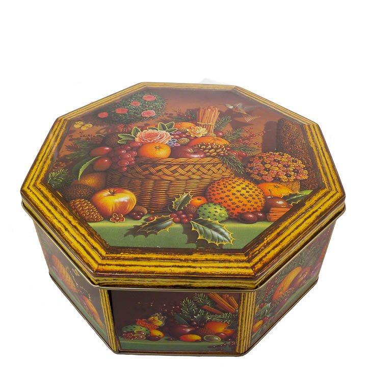 """Octagonal Hummingbird and Fruit Tin 10"""" x 10"""""""