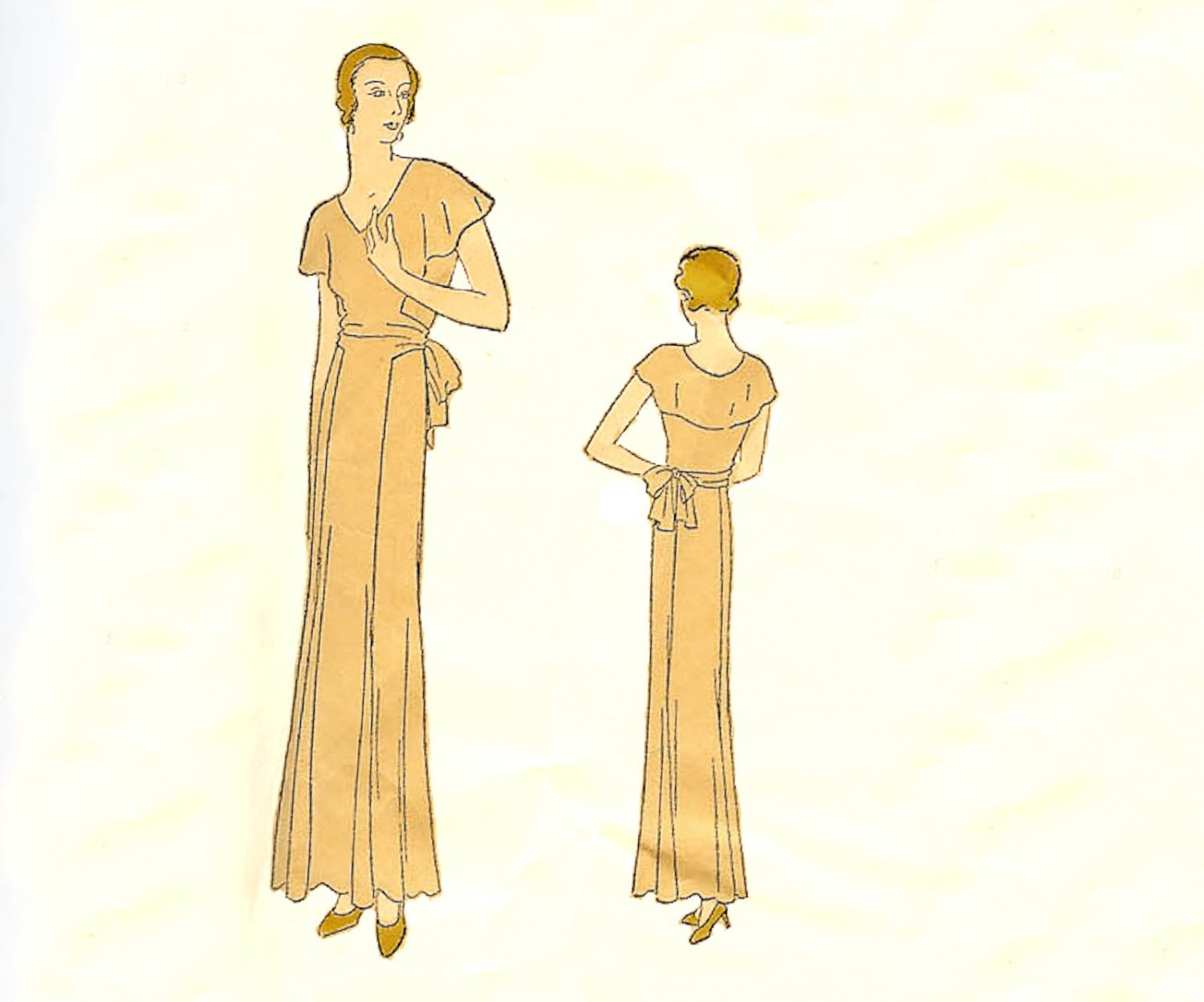 Vogue Pattern 5889 Misses' Evening Frock- Dress with Cape vintage 1930's