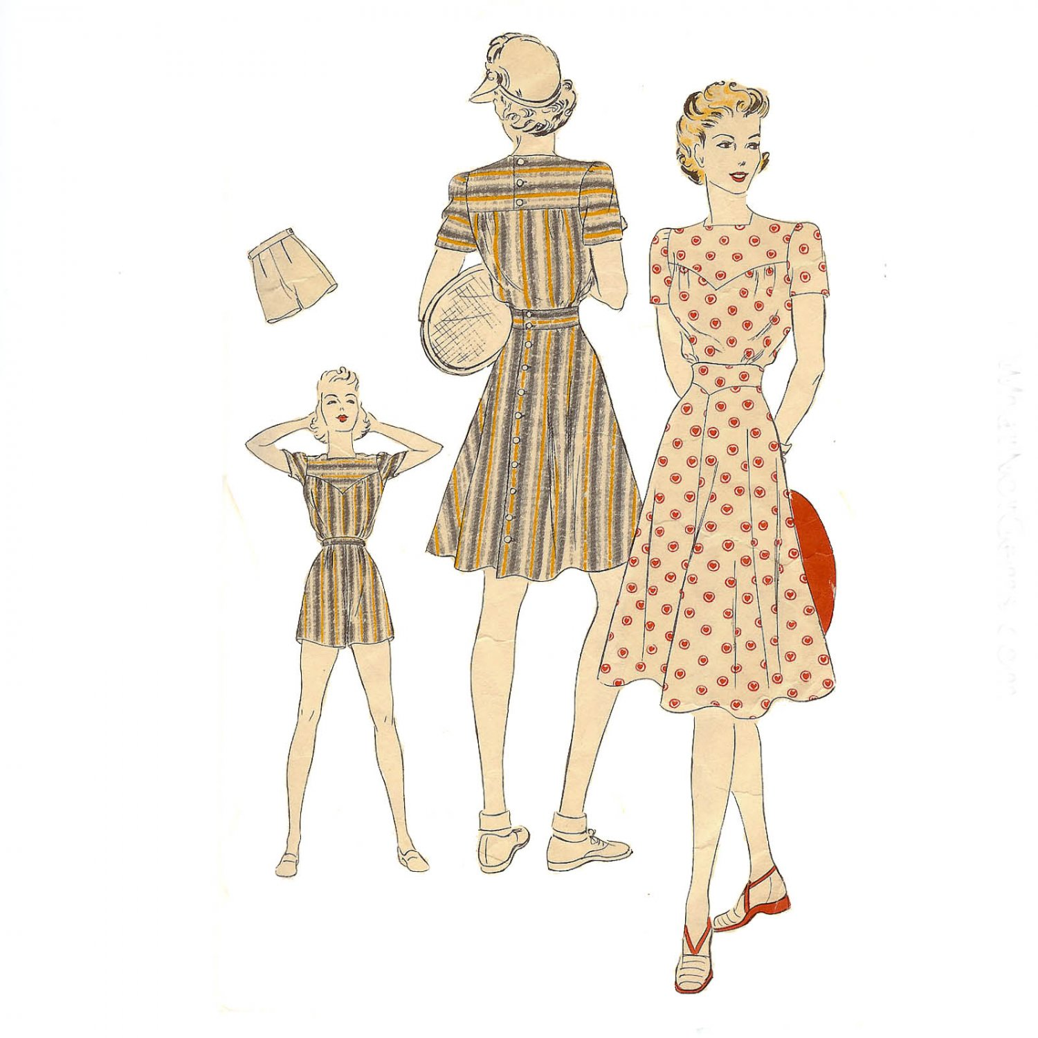 Vogue Pattern 8555 Blouse, Skirt and Shorts -Vintage 1930's