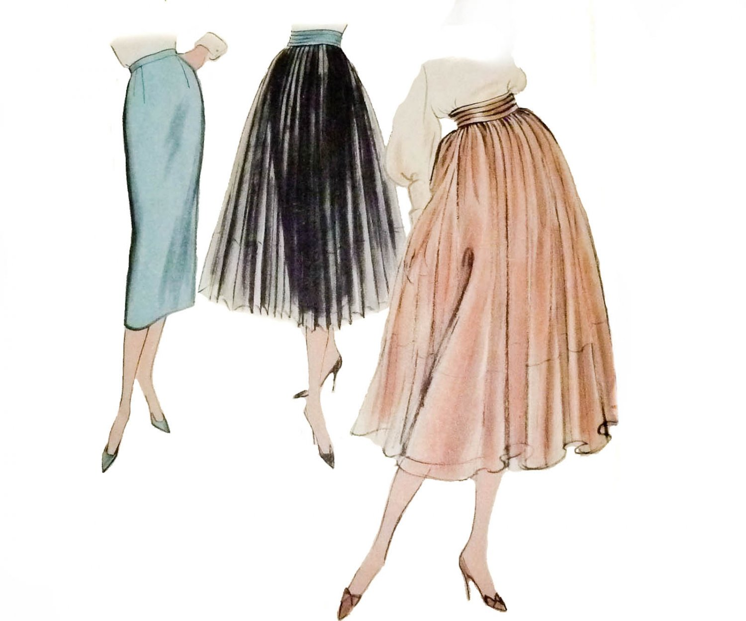 """Vogue Pattern 9210 Skirt with Detachable Overskirt """"Very Easy to Make"""" Vintage 1950"""