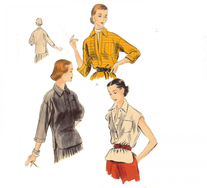 Vogue Pattern 7791 Blouse or Overblouse -Vintage 1950
