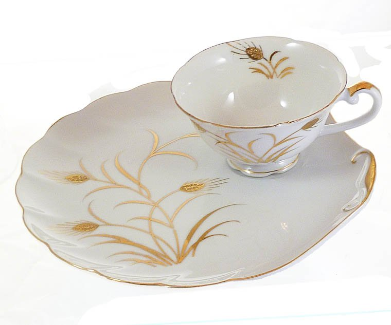 Lefton China Hand Painted Wheat Tea or Snack Plate and Cup Circa 1940-1950