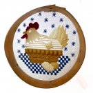 Nesting Hen Needlepoint Primitive Bentwood Grain Flour Sieve Sifter Chicken Wood Wire