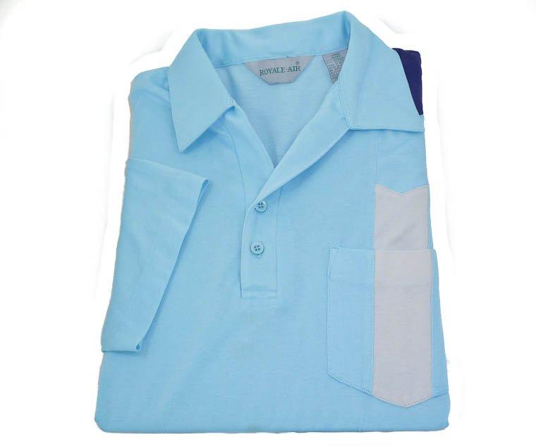 VINTAGE 1970's Royal Air Light Blue Polo Shirt L