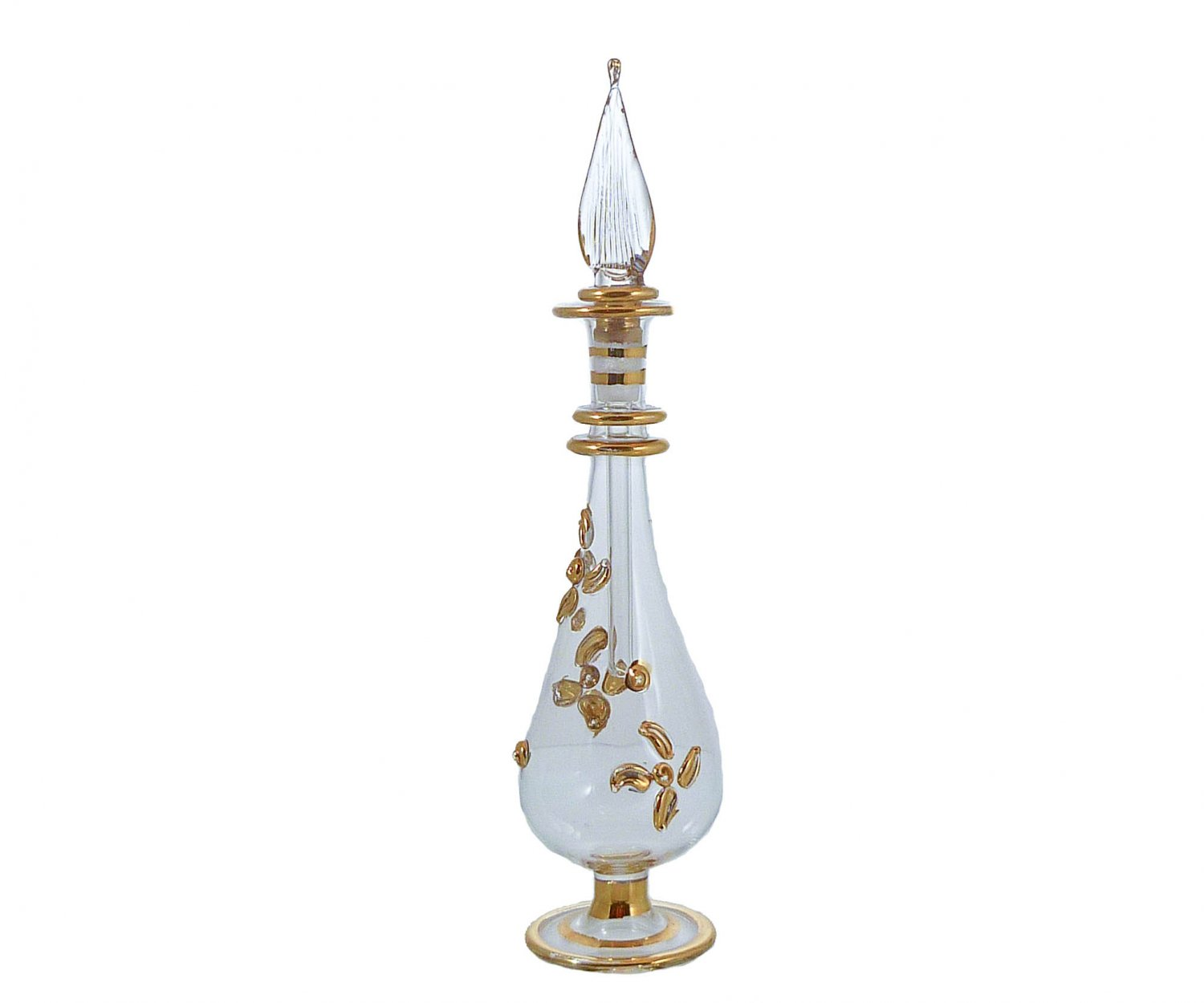 Clear Gold-Gilded Mouth-Blown Perfume Bottle