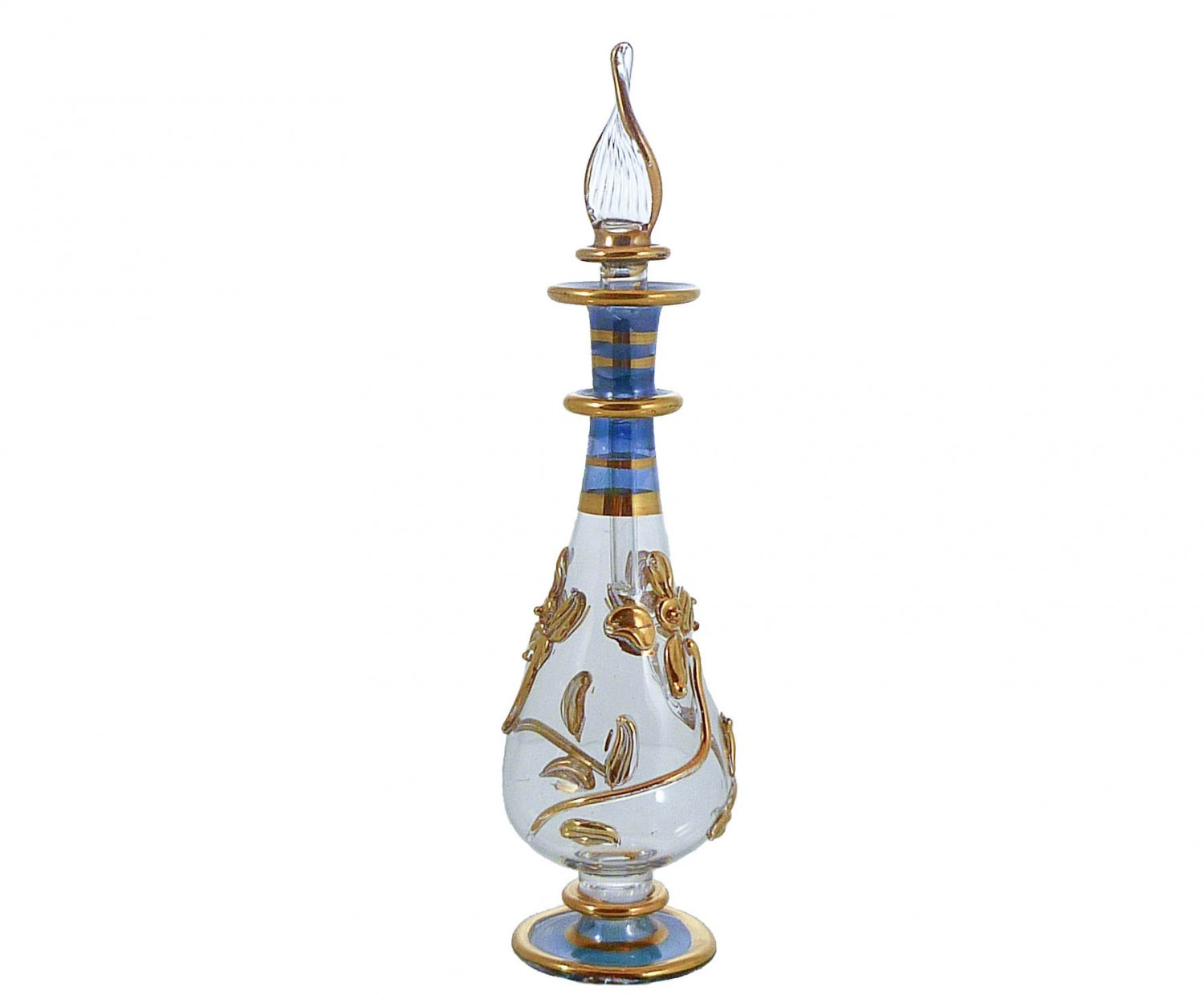 Blue Gold-Gilded Mouth-Blown Perfume Bottle