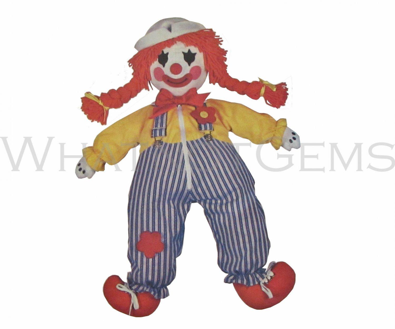 "Butterick 3510 Clown Learning Doll Pattern & Transfer 24"" Uncut Sewing"