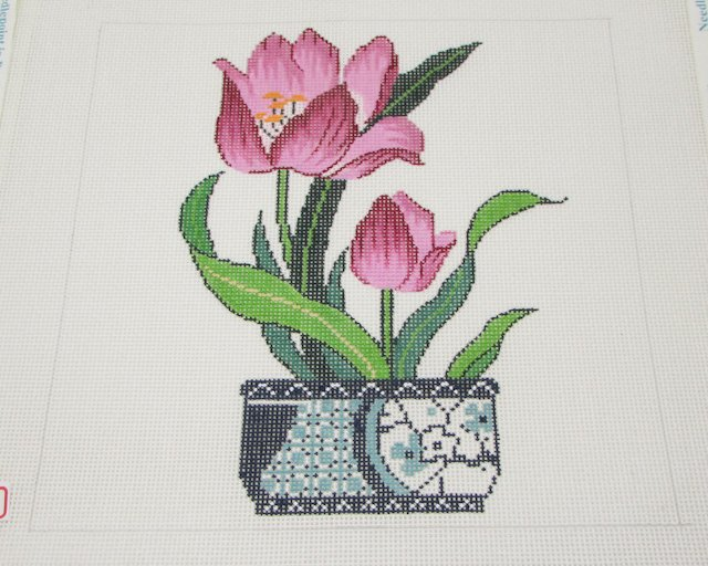 Lee Tulip in Blue and White Vase Needlepoint Canvas