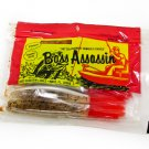"""20 Vintage Bass Assassin 4"""" P enzyme Floater Worms. Red Salt & Pepper Silver"""