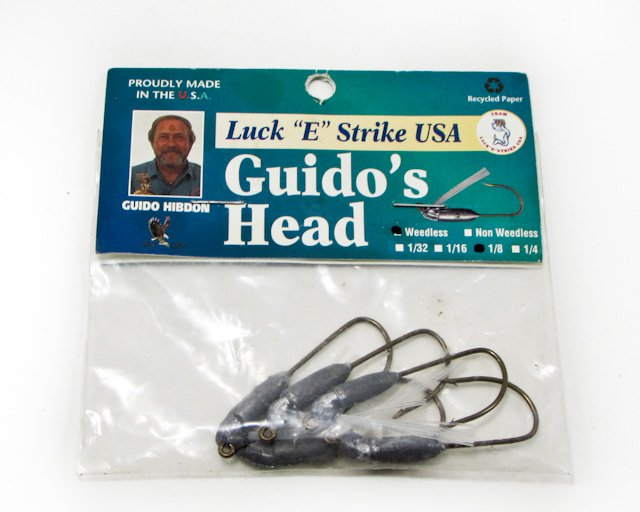 """Vintage Luck """"E"""" Strike Guido's Head Weedless 1/8"""
